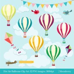 HOT AIR BALLOONS CLIP ART  This clip art pack features 12 hot air balloons elements perfect for scrapbooking, cards, web design, graphic