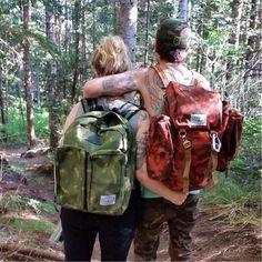 Poler Rucksack in autumn camo and Daypack in green camo spotted in the wild.   #poler #polerstuff #campvibes