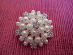 Brooch Diamante Pearl. Pearl Brooches, Crystal Brooches, Bridal Brooch, Ideal for Bridal accessories and Bridal garters, sashes