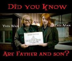Brendan Gleeson (Mad-Eye) and Domhnall Gleeson (Bill Weasley) = Father and Son