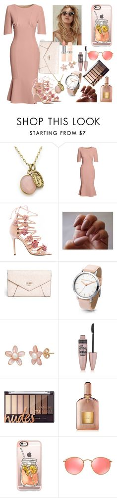"""""""Peach Revelon"""" by magnoliarose102302 ❤ liked on Polyvore featuring Canvas by Lands' End, Marchesa, GUESS, Maybelline, Tom Ford, Casetify and Ray-Ban"""