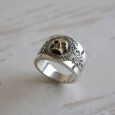 grim Reaper skull Ring for unisex made of sterling silver 925 Gothic biker Silver Skull Ring, Skull Rings, Unique Rings, Beautiful Rings, Sterling Silver Mens Rings, Steampunk Necklace, Gothic Jewelry, Opal Rings, Crane