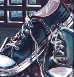 Broken-in Converse-by Shawna Rowe  gouache on board  Starting at $9.95