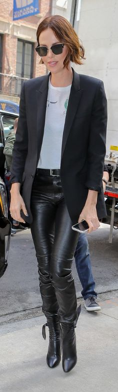 Who made Charlize Theron's black blazer, print white top, leather pants, and bow ankle boots? Jennifer Hudson, Jennifer Connelly, Kate Hudson, Jennifer Garner, Jada Pinkett Smith, Fashion Dictionary, Elizabeth Hurley, Kristin Cavallari, Tina Fey