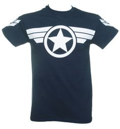 Official Men's Navy Steve Rogers Super Soldier Captain America Uniform Marvel T-
