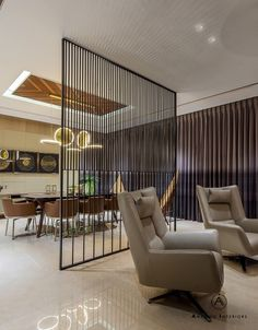 A Deluxe Lodging - Apartment Interiors Living Room Partition, Room Partition Designs, Office Interior Design, Interior Exterior, Apartment Interior, Room Interior, Luxury Home Decor, Luxury Homes, Marble Top Dining Table