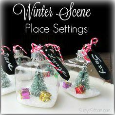 winter scene place settings
