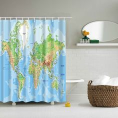 3D World Map Printed Bathroom Waterproof Shower Curtain - LAKE BLUE L