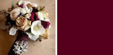 Burgundy, ivory, and navy blue. From The Evelyn Clark Weddings blog.