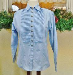 Western Rodeo Cowgirl Pleated Bib Chambray Shirt M Blue Prairie Fun Silver River #SilverRiver #Western #Casual