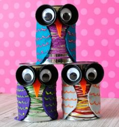 This Tin Can Owl Craft Is Colorful And Cute Perfect For The Fall Season Fun Bird Kids Preschool Recyclable