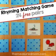 rhyming matching game for facebook