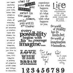 Tim Holtz Large Cling Rubber Stamp, Stuff 2 Say Set (423.705 IDR) ❤ liked on Polyvore featuring home, home decor, office accessories, tim holtz binder, tim holtz and red binder