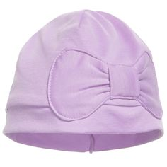 Lemon Loves Layette baby girls lilac hat with a stitched down bow silhouette that is easily paired up with her everyday wardrobe and offers warmth and comfort made with the finest Pima cotton. They are beautifully soft and stretchy for the perfect fit of any age baby. <ul> <li>100% Pima Cotton</li> <li>Machine wash (30*C)</li> <li>Designer colour: Sheer lilac</li> <li>Designer name: Petit bow</li> </ul>