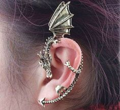 Metal Dragon Bite Ear Cuff Wrap Earring by Shopecia