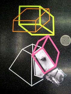 Poster Boy & Aakash Nihalani collaboration (2008 collage on subway car floor)