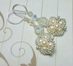 Beaded Cream Pearl and Crystal Earrings | JewelryLessons.com