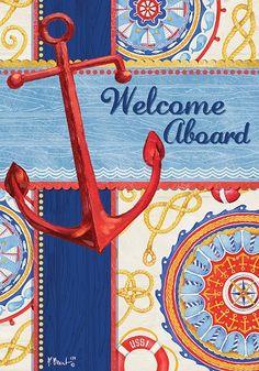 custom decor flag welcome aboard decorative flag at garden house flags - Decorative House Flags