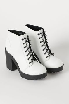Platform Ankle Boots - White/faux leather H&M High Heels Boots, Platform Ankle Boots, Heeled Boots, White Shoe Boots, Lace Up Heel Boots, Shoes Boots Ankle, Kawaii Shoes, Aesthetic Shoes, Studded Heels