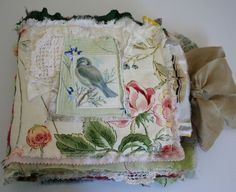 Blue crazy quilt fabric journal front cover / by ramblingrose (see more pics in the link)
