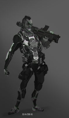 Sci-fi Soldier2, Val Germain on ArtStation at https://www.artstation.com/artwork/DNw6A
