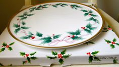 Vintage Mikasa Cake Plate in Ribbon Holly Pattern by HoneyYourHome, $50.00