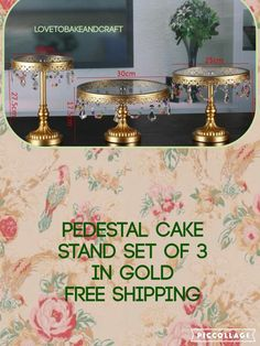 A personal favourite from my Etsy shop https://www.etsy.com/uk/listing/385922378/pedestal-cake-stand-gold-3-piece-vintage