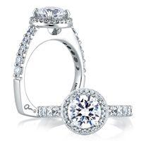 Halo Set Shared Prong Engagement Ring