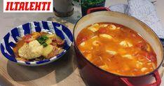Inspiraatio tähän Vappu Pimiän valmistamaan kalapataan on saatu portugalilaisesta kalapadasta. Cheeseburger Chowder, Curry, Soup, Ethnic Recipes, Lasagna, Curries, Soups