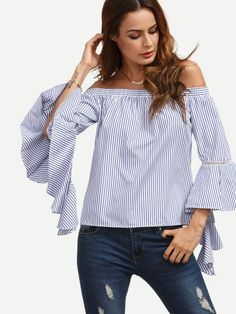 Shop Blue Striped Off The Shoulder Ruffle Sleeve Blouse online. SheIn offers Blue Striped Off The Shoulder Ruffle Sleeve Blouse & more to fit your fashionable needs. Lehenga, Chemises Sexy, Fashion Design Inspiration, Sexy Bluse, Fashion 2017, Fashion Outfits, Fashion Blouses, Latest Fashion, Fashion Trends
