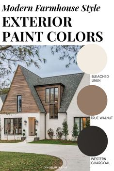 Modern Farmhouse Exterior Paint Combinations 8 perfect color schemes for your modern farmhouse exterior! Get the perfect modern farmhouse paint colors for your upcoming renovation or new build home. Farmhouse Exterior Colors, Farmhouse Paint Colors, Modern Exterior, Modern Paint Colors, Cafe Exterior, Stucco Exterior, Exterior Cladding, Exterior Design, Exterior Paint Color Combinations