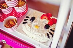 DIY cheese spread at a Hello Kitty birthday party! #hellokittycake #hellokittyparty #supplies