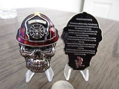 """""""Set of Three Firefighter Challenge Coins Firefighters Prayer , First In Last Out and Thin Red Line Skull Helmet coin measures approx 2 3/4\"""" x 1 7/8\"""" inches First In Last Out measures approx 2\"""" inches Thin Red Line measures approx 2\"""" x 2 1/2\"""" This is for three coins pictures represent front & back of each coin Coin stands not included"""" Police Challenge Coins, Lego Challenge, Firefighter Symbol, Skull Helmet, Pin Up Girl Tattoo, Navy Chief, Team Challenges, One Coin, Golden Knights"""