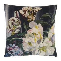 Designers+Guild+Delft+Flower+Cushion+Linen+60x60cm+-+Floral+patterned+cotton+velvet+cushion. Welcome+the+timeless+elegance+of+the+Designers+Guild+Delft+Flower+Cushion+Cotton+Velvet+into+your+home. Inspired+by+botanical+watercolour+paintings,+this+sophisticated+cotton+velvet+cushion+collection+features+a+large+scale+depiction+of+expressive+roses,+apple+blossoms+and+blooming+tulips…