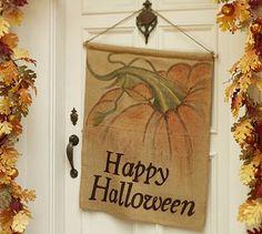 Burlap Happy Halloween Flag #potterybarn