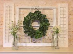 Old Window Frame, Shutters, Magnolia Wreath, Farmhouse Decor, Grapevine Wreath, Fixer upper decor by myrusticchicboutique on Etsy https://www.etsy.com/listing/515507813/old-window-frame-shutters-magnolia