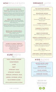For printed menus, more detail. Smoothie Menu, Juice Smoothie, Smoothie Recipes, Smoothies, Juice Bar Menu, Juice Bars, Juice Joint, Raw Juice, Juicy Juice