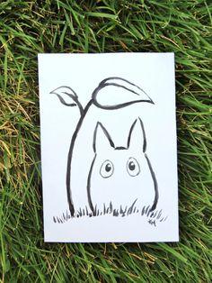 Chibi-Totoro Ink Malerei Geschenke Ghibli Fanart von FuzzyLlamas