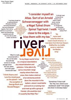 """""""river on river"""" Quotes from River Phoenix about his life from Sky magazine"""