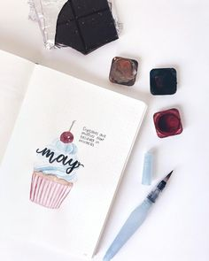 Bullet journal monthly cover page, May cover page, hand lettering, cupcake drawing. Bullet Journal Notes, My Journal, Journal Layout, Journal Covers, Journal Themes, Journal Ideas, Believe In Miracles, Bullet Journal Inspiration, Doodle Drawings