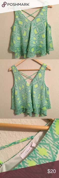 Lush green flowy crossback crop tank Gorgeous lime green and sea foam green tank top. Bright and flowy with crisscrosses in the back. Perfect condition! Make an offer! 20% off bundles of 2 or more items! Lush Tops Tank Tops