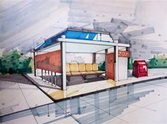 Landscape Sketch - Bus Station