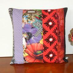 housse de coussin boh me chic patchwork en bleu canard. Black Bedroom Furniture Sets. Home Design Ideas