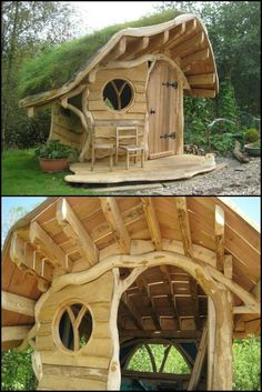 A playhouse is  a great place for kids to hang out when they're playing outdoor.  These hobbit playhouses from Wooden Wonders will make you wish you were a child again: http://theownerbuildernetwork.co/azep  Why weren't these hobbit playhouses around when we were kids?