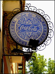 """Coca-Cola sign in Spain. From  a beautiful photo series """"Postcards from Spain: The Markets and Signboards of Granada,"""" by  theflaneurbanite on Flickr. Pepsi Cola, Coke, Blade Sign, Always Coca Cola, Pub Signs, Store Signs, Vintage Signs, Granada Spain, Andalusia"""