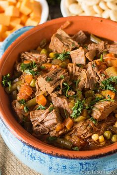 """Savory Slow Cooker Vegetable Soup is a quick dinner recipe when you have leftover roast beef. Kids will love the classic veggies that fill this beefy soup!"""" srcset="""