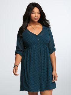 Plus Size Polka Dot Shirt Dress