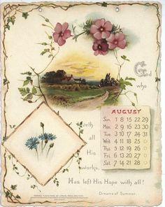 NOBLE THOUGHTS FROM WHITTIER CALENDAR FOR 1897. Vintage Labels, Vintage Ephemera, Vintage Cards, Vintage Paper, Vintage Images, Vintage Flowers, Vintage Floral, Vintage Children Photos, Vintage Calendar