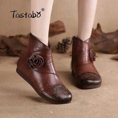 050bb99acf605c Tastabo Blume handgefertigte Stiefeletten mit Fell Retro Stiefel Schuhe  Damenmode ...  blume