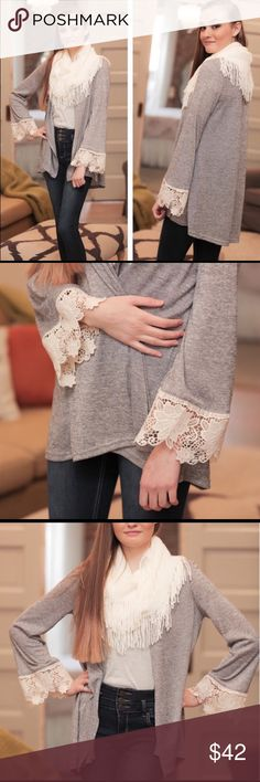 Soft grey lace Cardigan with lace sleeve😍 This is a very soft light grey Cardigan with a darling lace sleeve.  Perfect Cardigan to wear with jeans, leggings and boots!  S 2-4 M4-8 L 10-12.  I only have one if each size so don't miss out! Infinity Raine Sweaters Cardigans